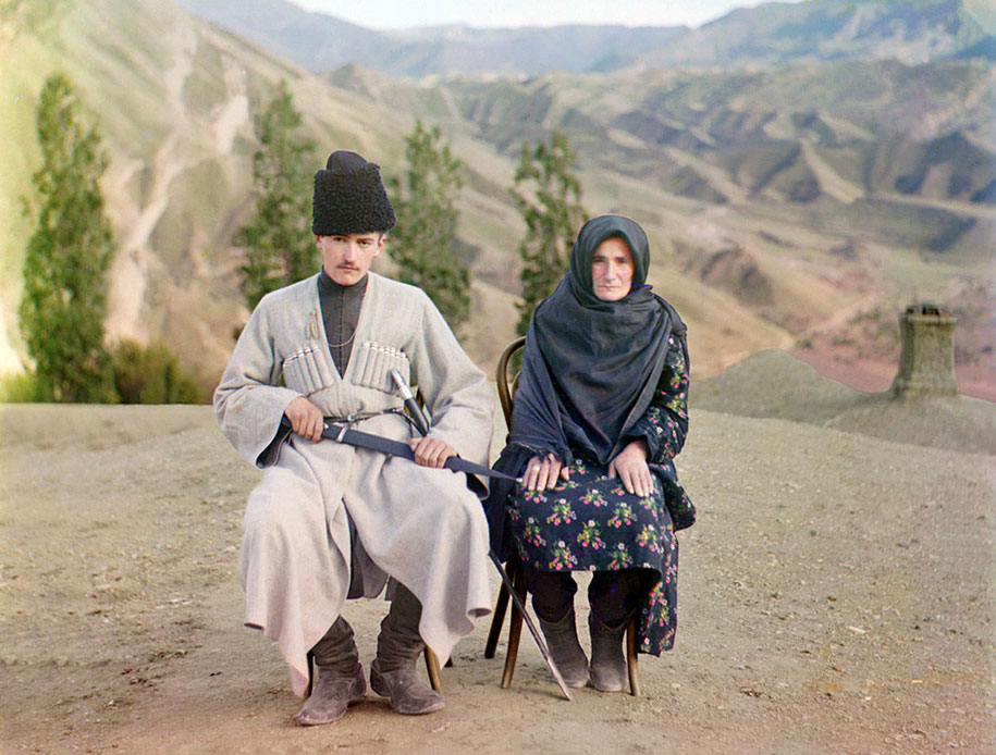 3-A-man-and-woman-pose-in-Dagestan-ca.-1910