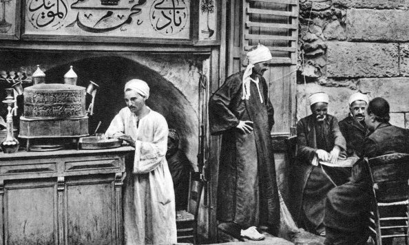 An Arabian coffee house in Cairo, Egypt, c1920s. Photograph: Print Collector/Getty Images